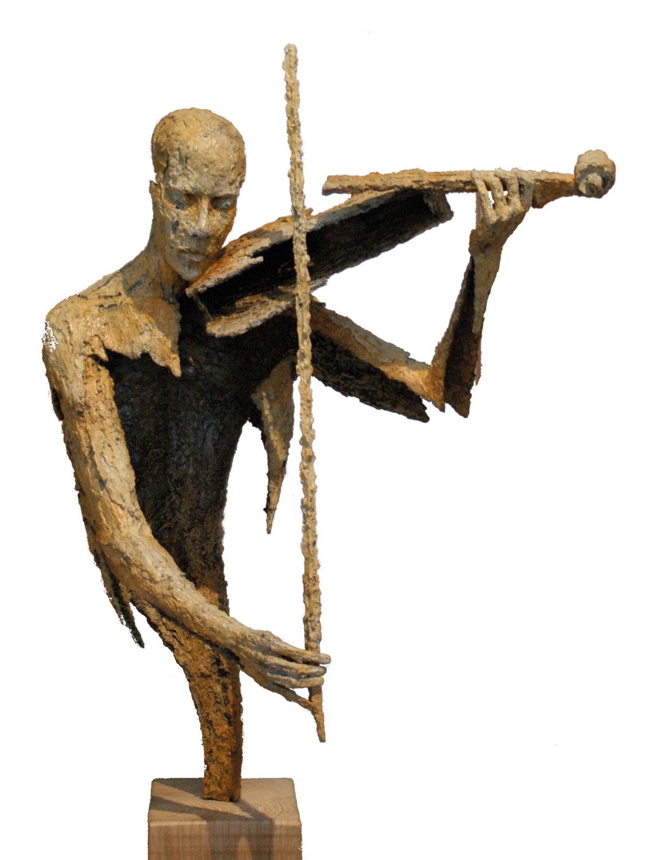 Violoniste, buste, archet bas