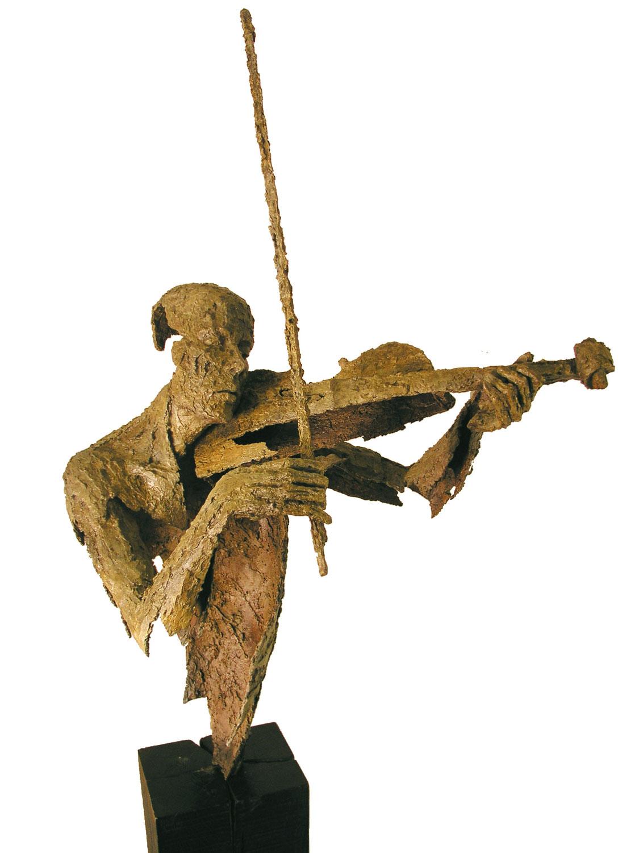 Violoniste, buste, archet haut